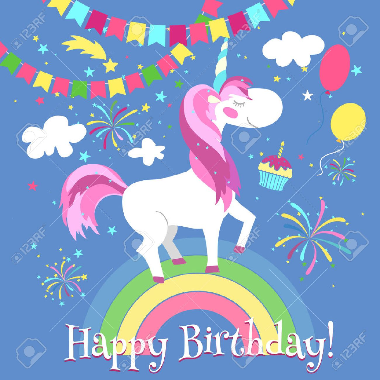 Happy birthday card with cute unicorn. Vector template. Unicorn card birthday, happy unicorn on rainbow, fairytale fantasy unicorn illustration - 55462586