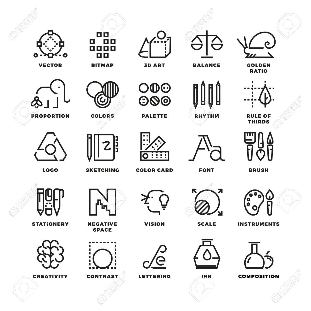 creative design process linear vector icons for web app tool