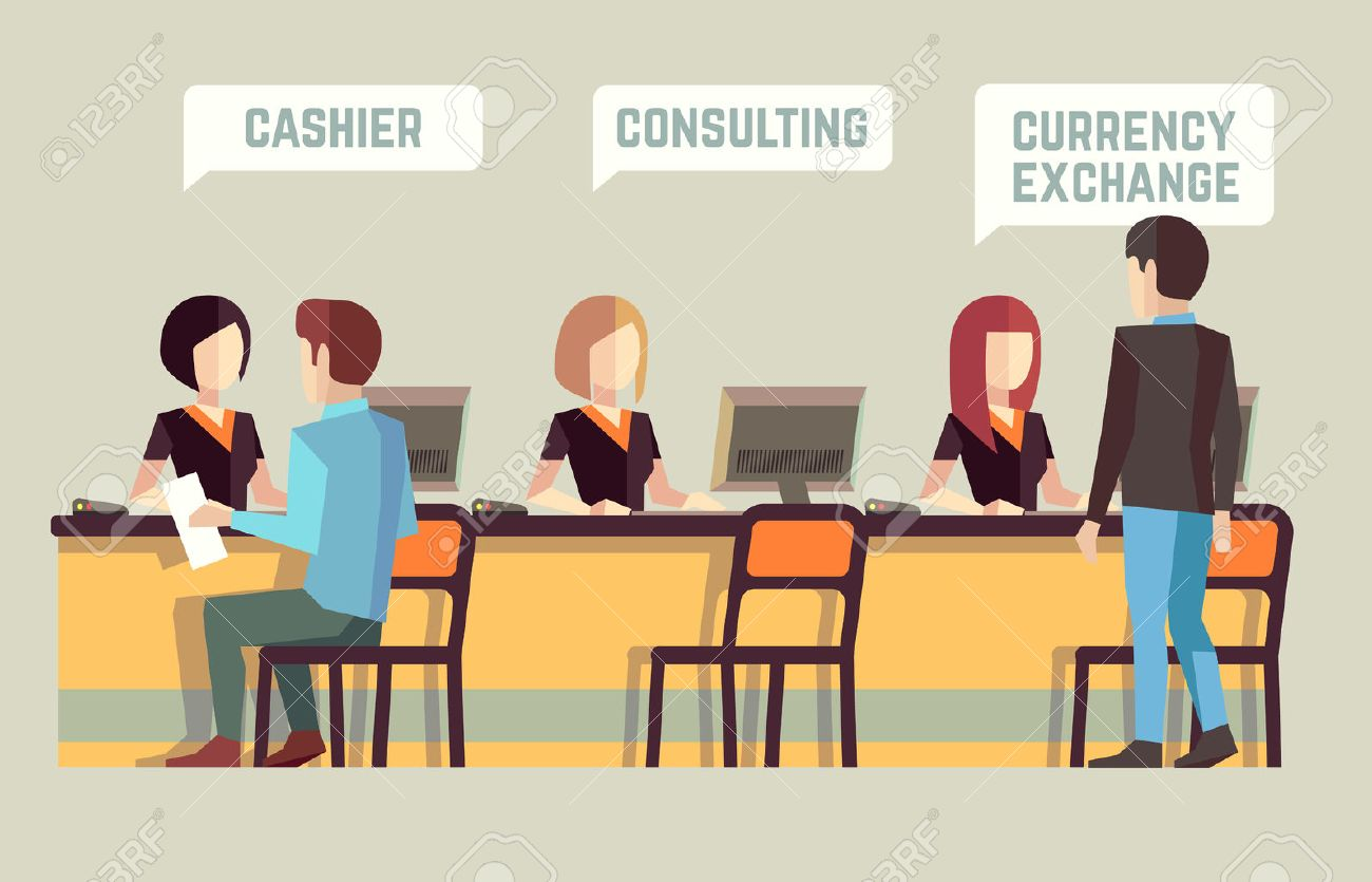 Bank Interior With Cashier, Consulting, Currency Exchange. Banking ...