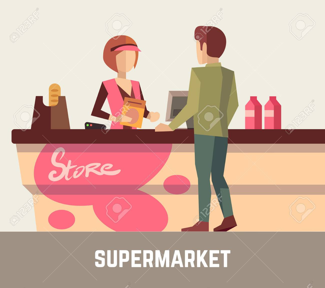 supermarket store assistant cashier w at cash register and supermarket store assistant cashier w at cash register and customer store cashier