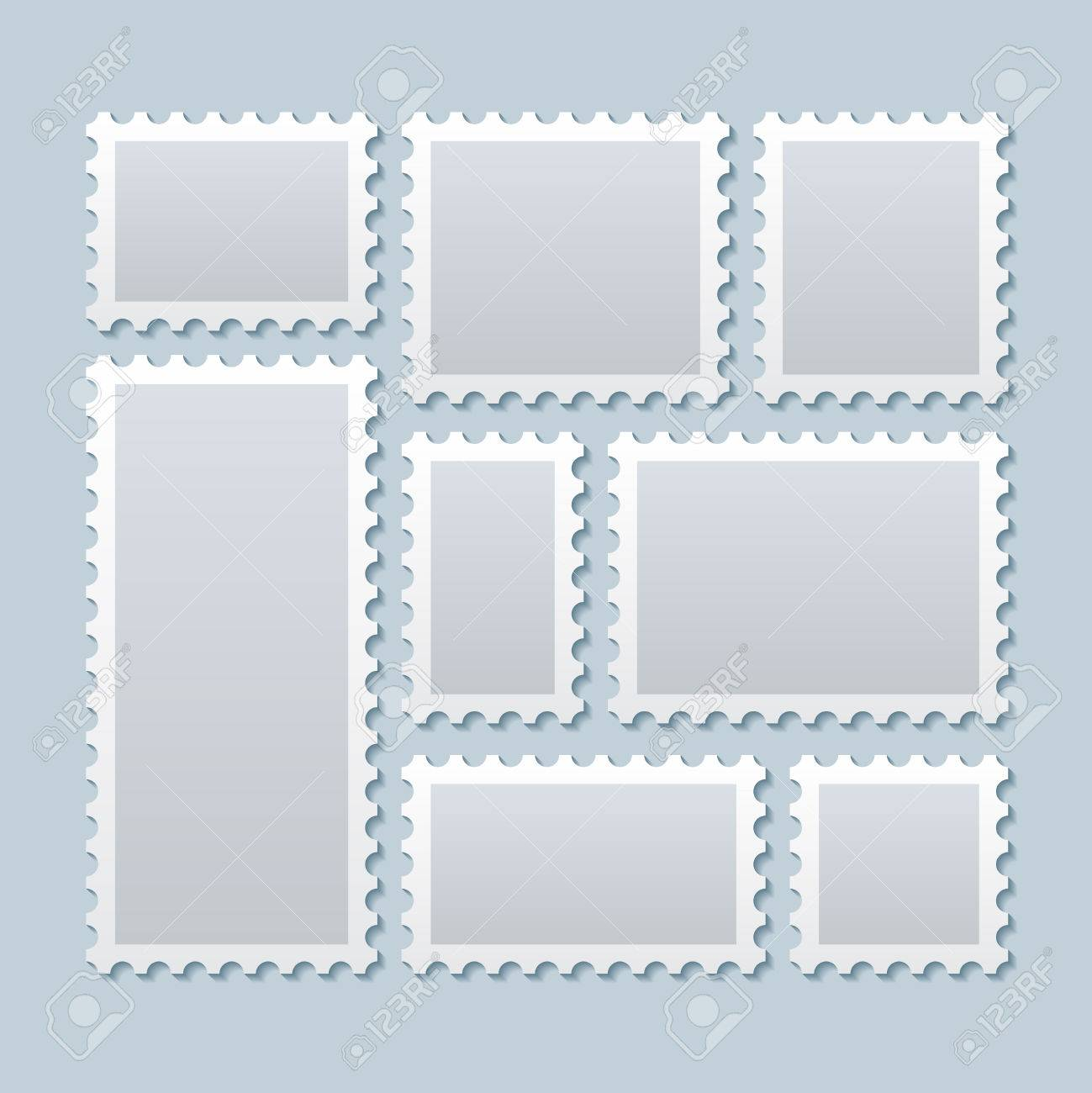 Blank postage stamps in different size. Stamp mark postage, paper mark stamp, blank mark postcard. Vector illustration template - 56432442