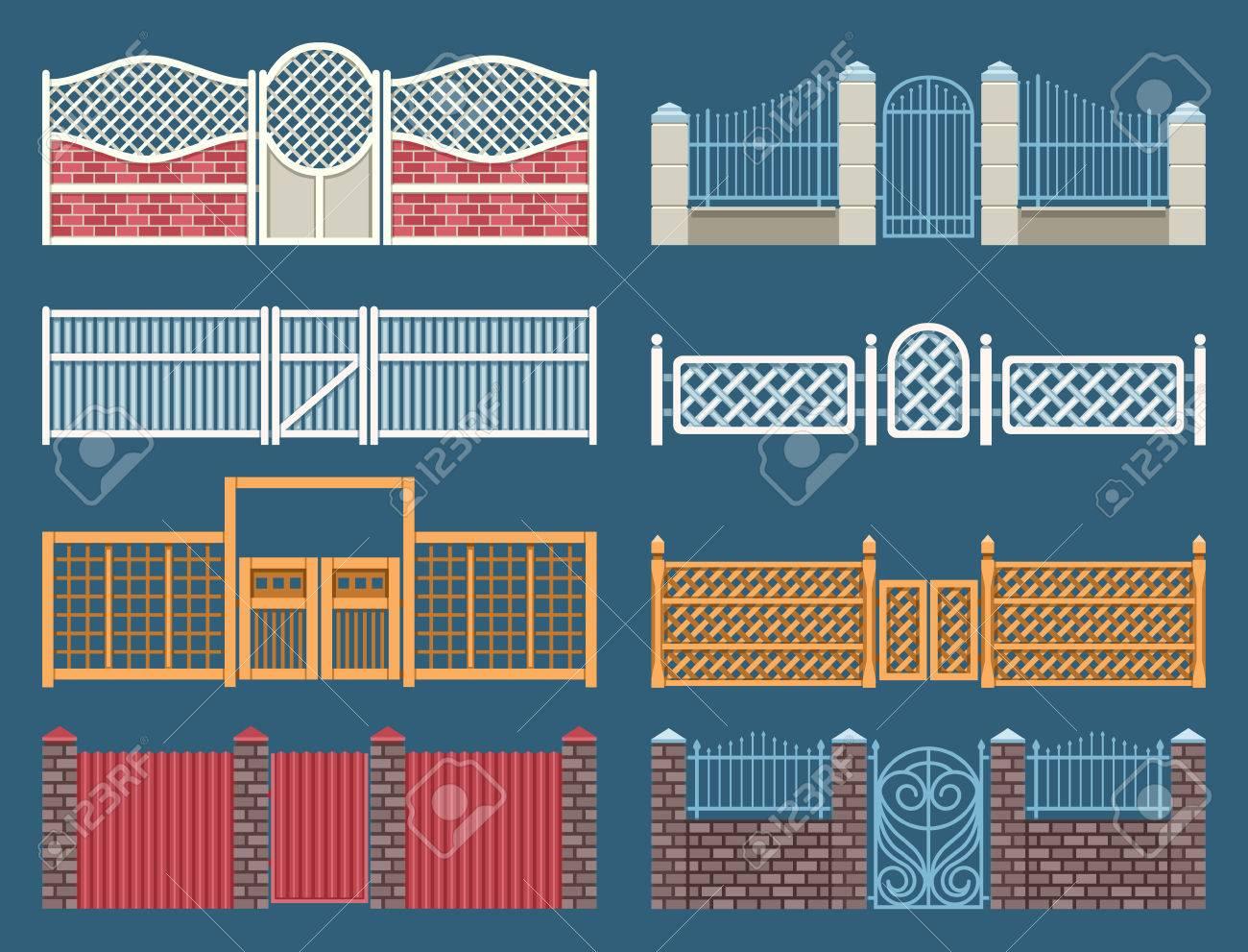 Zäune Und Tore Vektor Gesetzt Tor Und Zaun Eisen Outdoor Tor