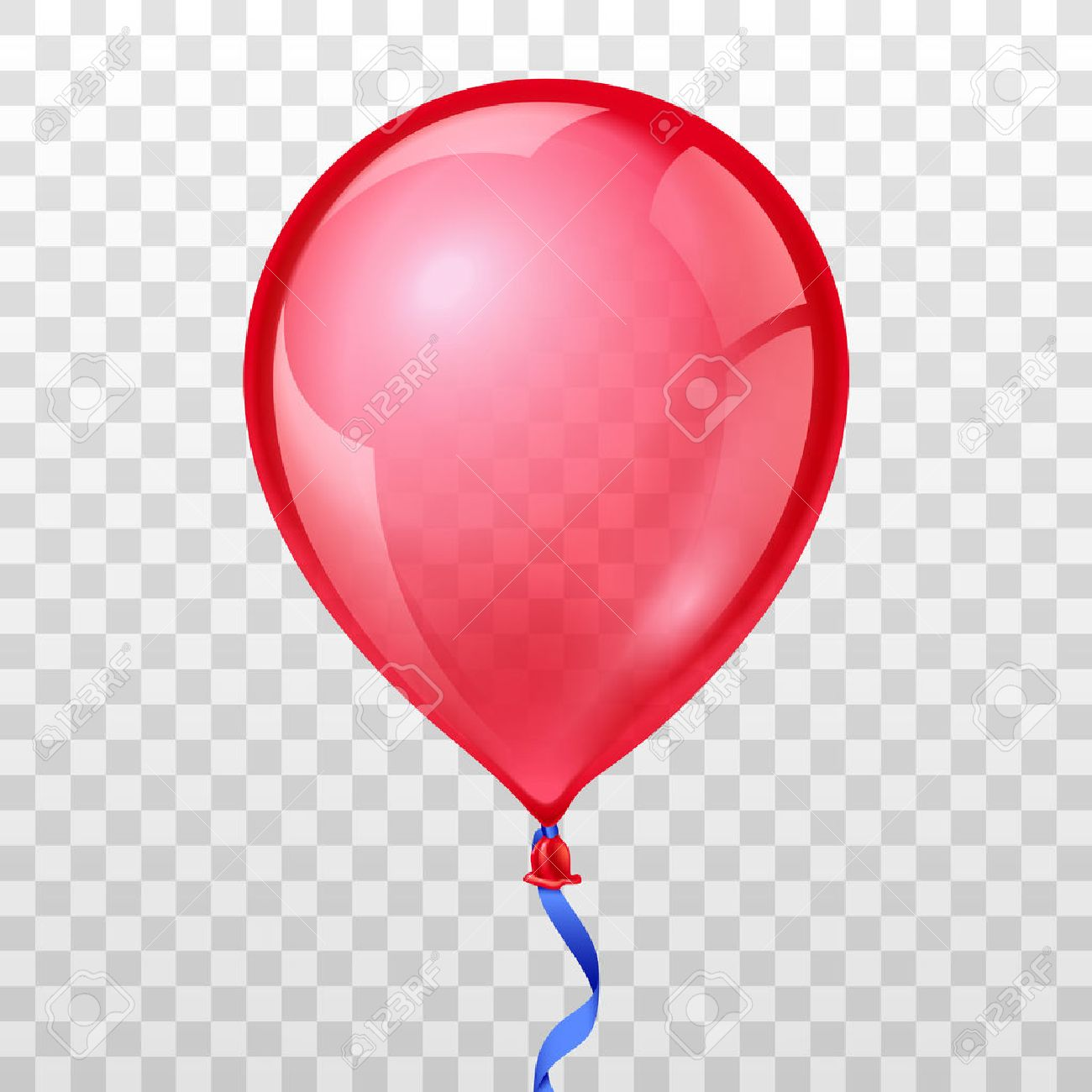 Realistic red balloon on transparent checkered background. Balloon air birthday, helium balloon, moving balloon inflatable, Vector illustration - 56432666