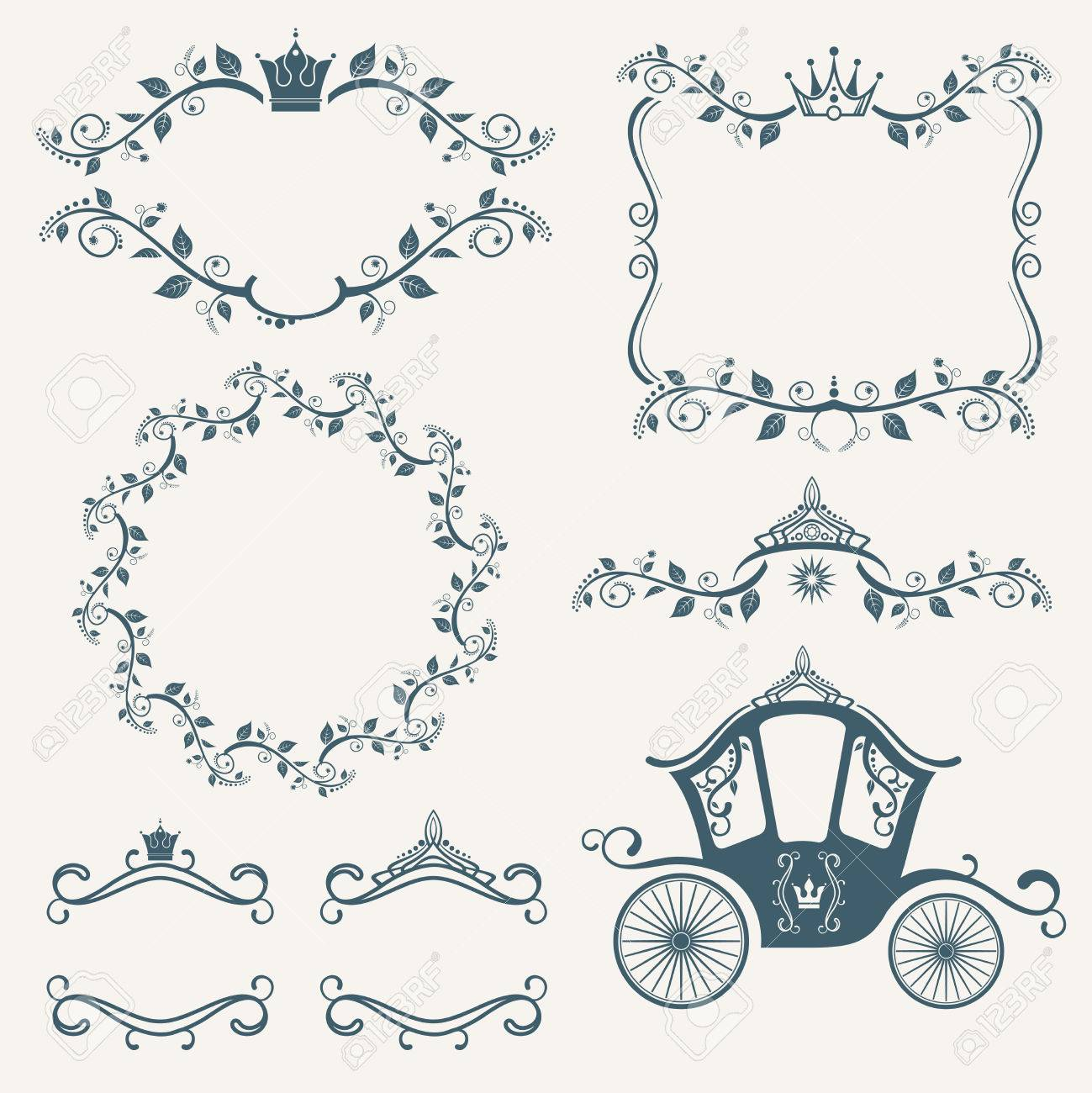 Vintage Royalty Frames With Crown, Diadems, Carriages Vector ...