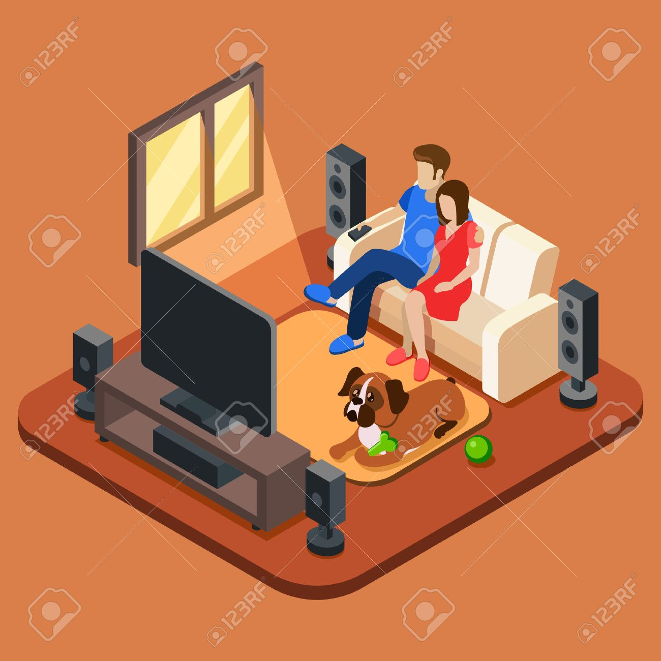 Living Room With Tv And People family in the living room watching tv. 3d isometric people concept