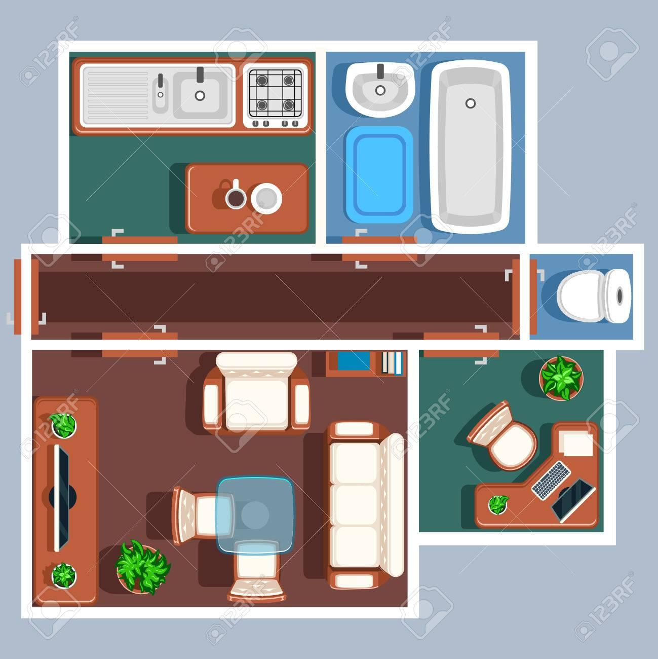 Wohnung Etage Vektor Plan Mit Möbeln Plan Wohnung Zimmer Wohnung