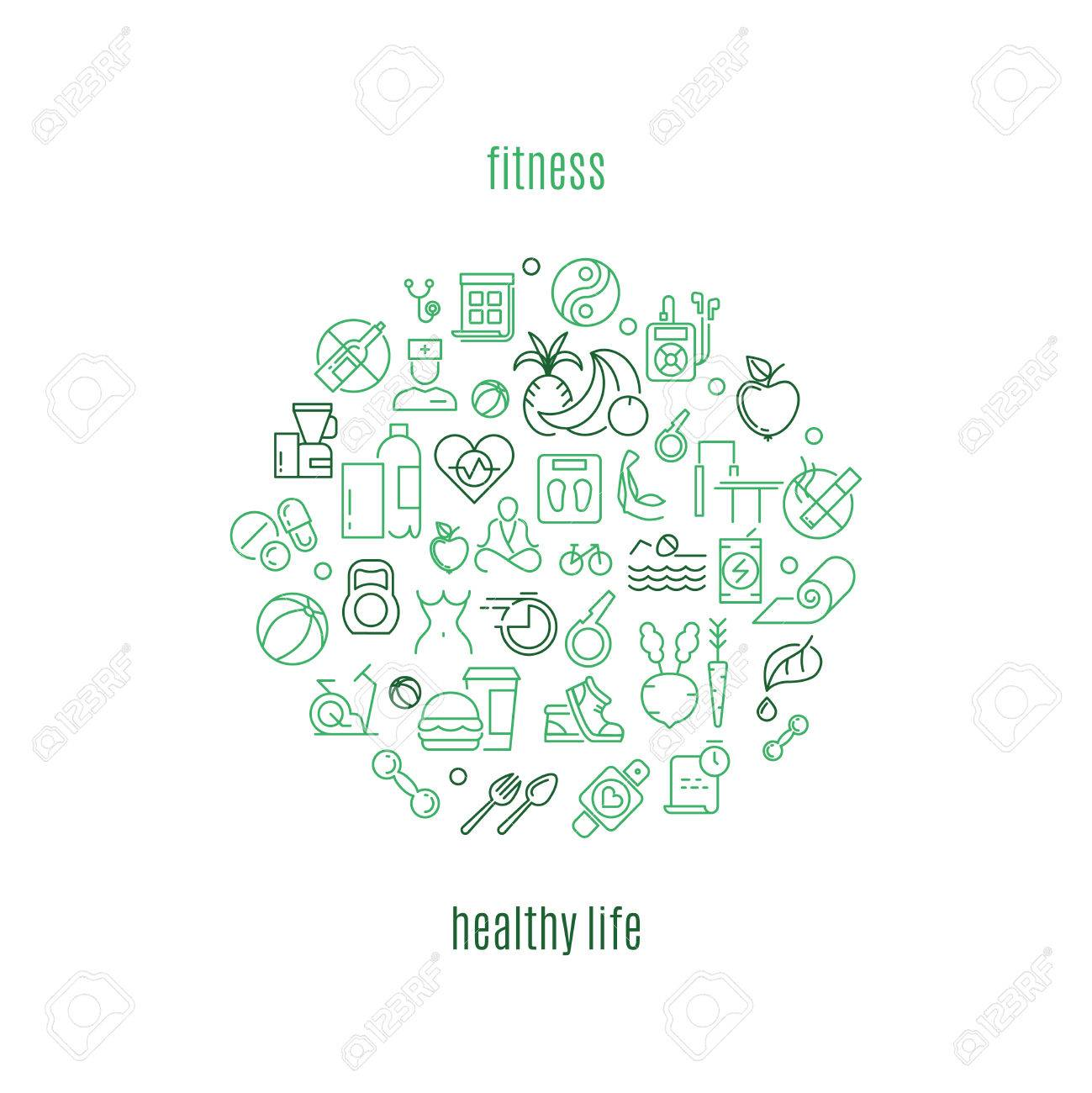 vector template in linear style for gyms and fitness clubs. Healthy life, fitness healthy, fitness gym healthy life illustration - 58813376