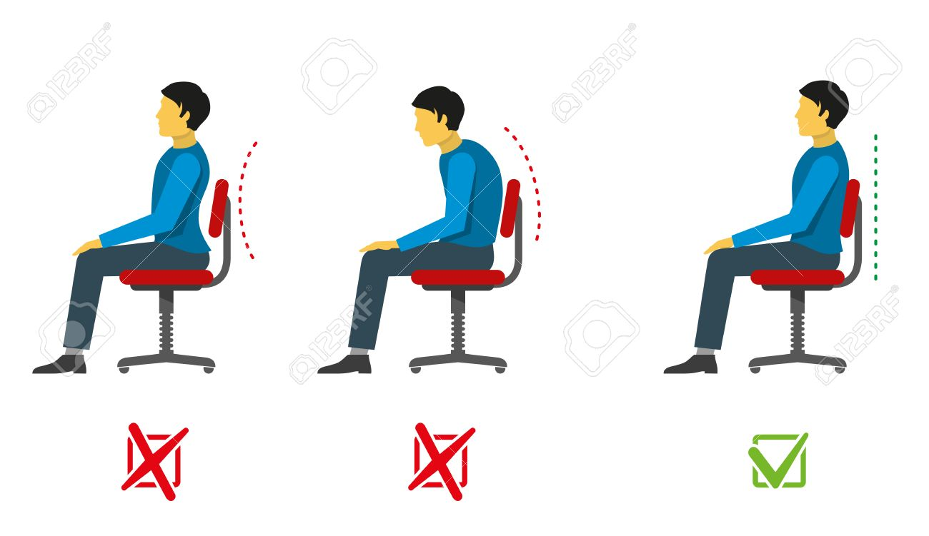 Correct And Bad Sitting Position Vector Medical Infographics Position Sit Right Position Sit
