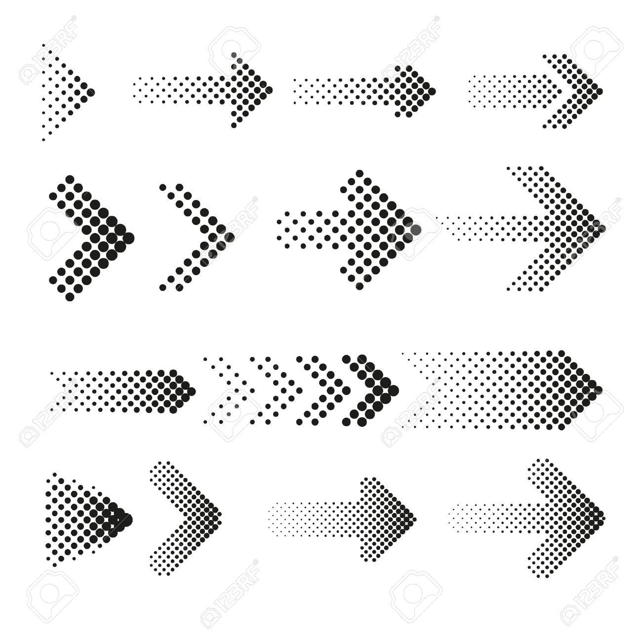 Dotted halftone arrows vector set. Arrow dot, arrow halftone, web arrow pattern illustration - 58525215