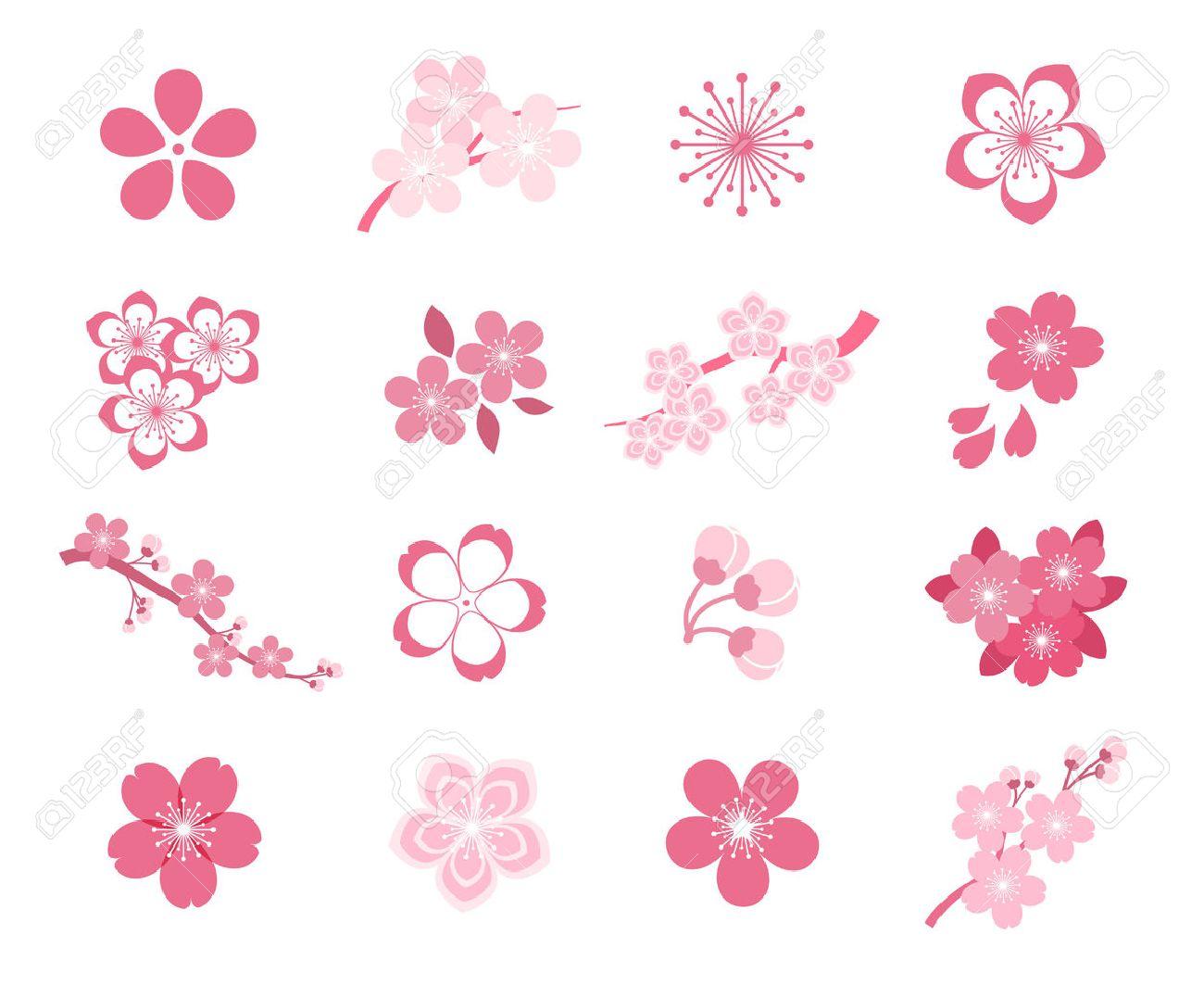 Cherry blossom japanese sakura vector icon set. Nature japanese cherry, spring floral sakura, blossom flower sakura, icon sakura illustration - 58744867