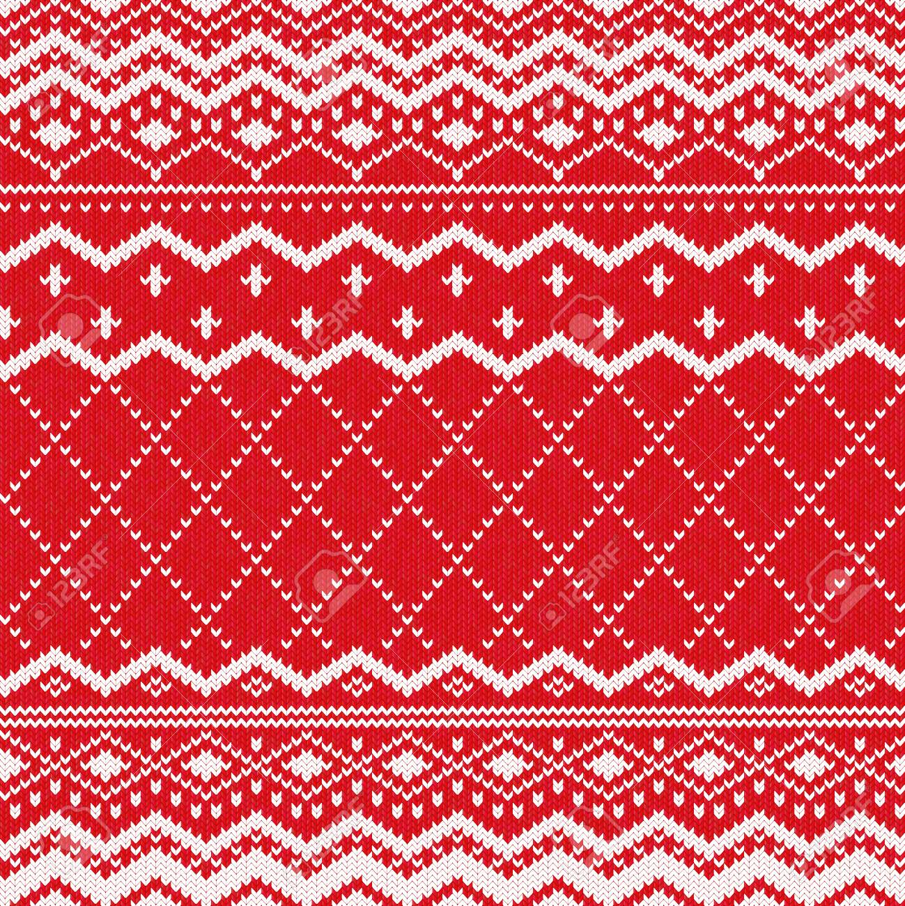 Scandinavian Knitted Pattern Or Nordic Knitted Ornament. Red ...