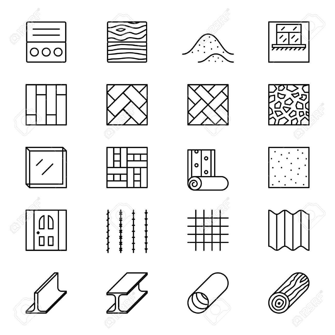 Building materials line vector icons. Building construction materials, element pictogram material, object materials linear illustration - 58737169