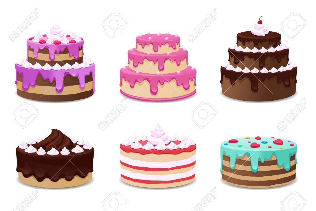 Gâteaux vector set. Gâteaux icônes sur fond blanc. Gâteau d\u0027anniversaire,  crème