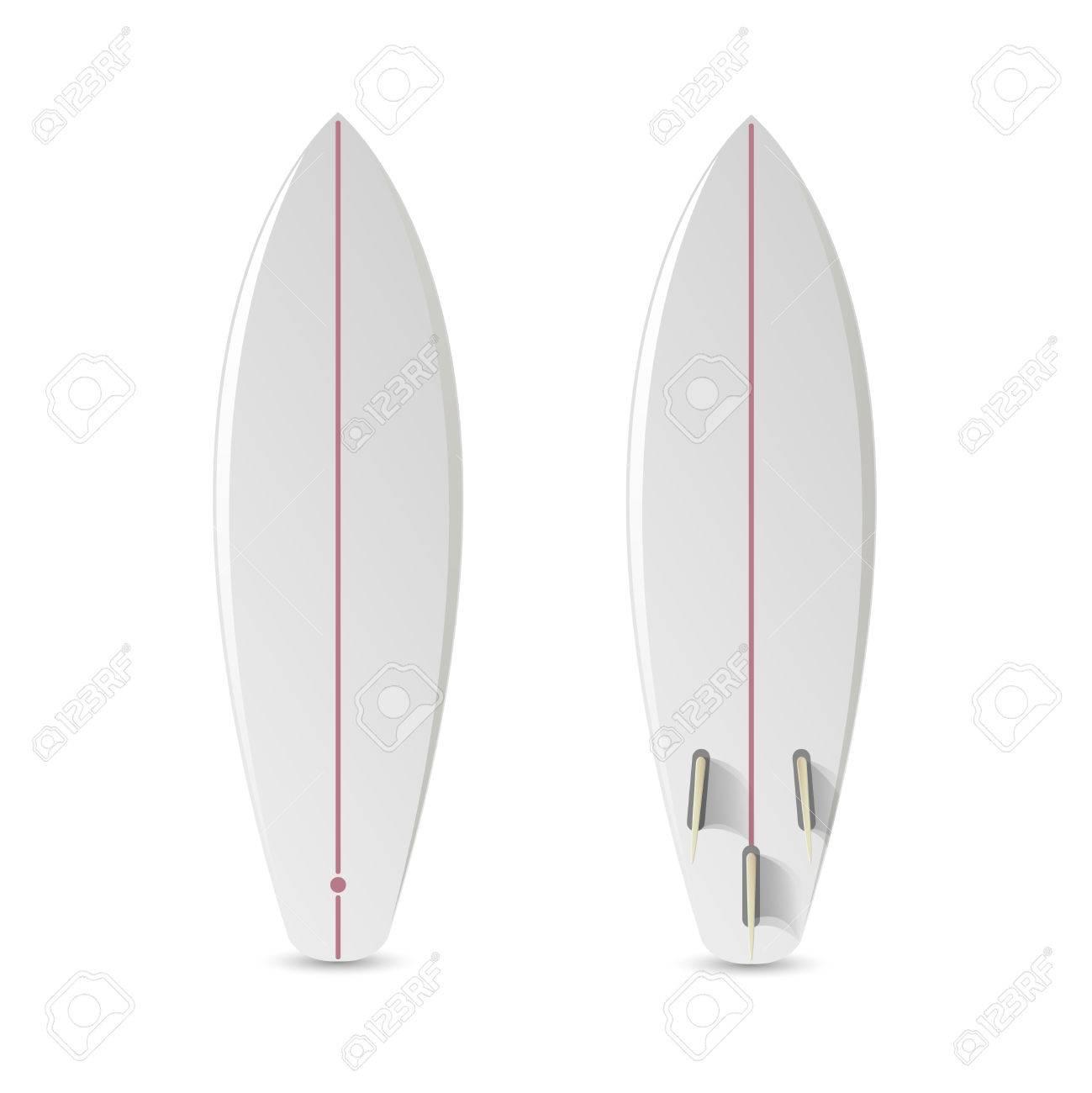 Realistic Vector Blank Surfboard Surfboard Short Realistic