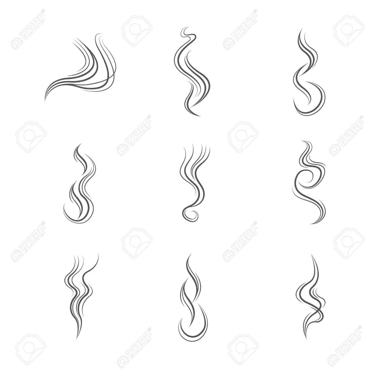 煙の線はベクター セットです。煙が立ち上り、流煙、煙の抽象化の