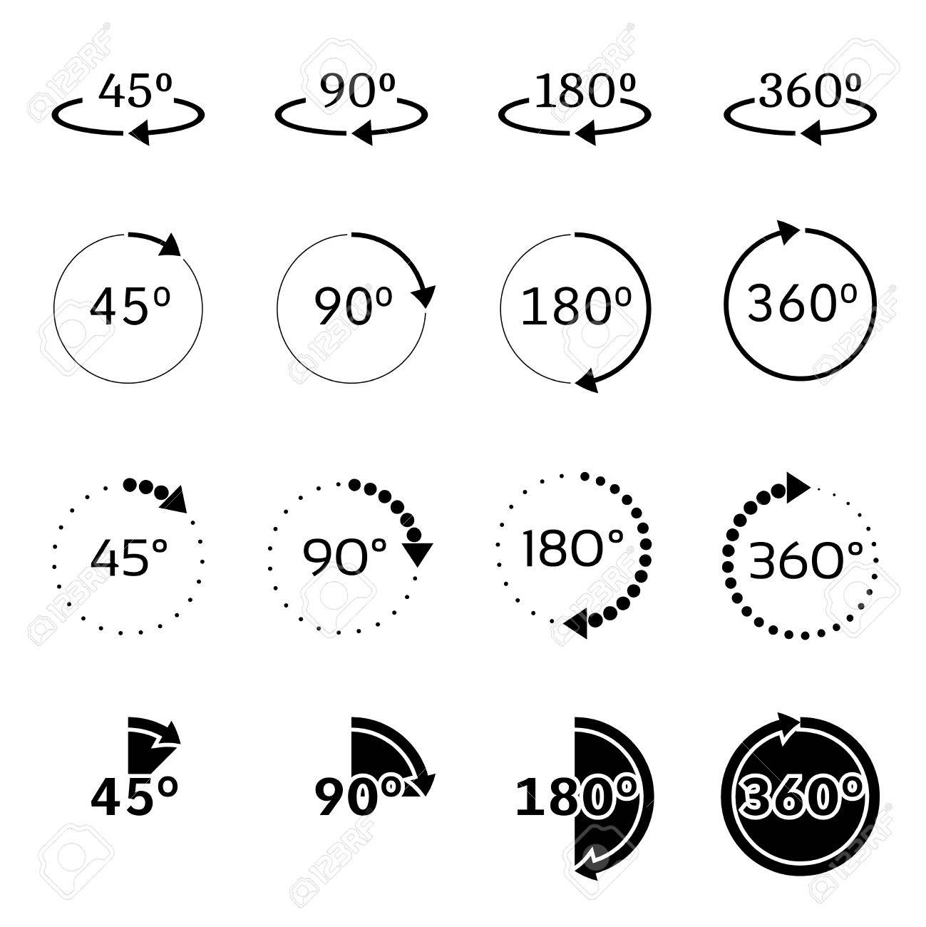 set of angles 45 90 180 and 360 degrees icons rotation degree