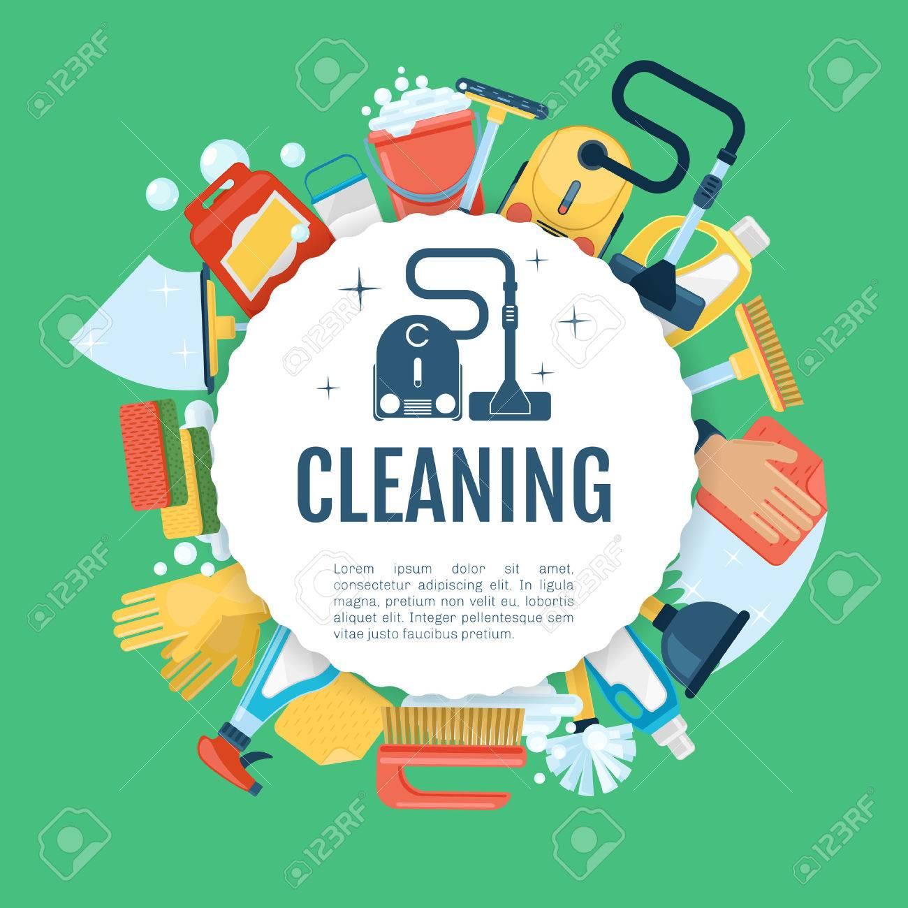 Cartel De La Limpieza De La Casa. Vector De Servicios Domésticos De ...