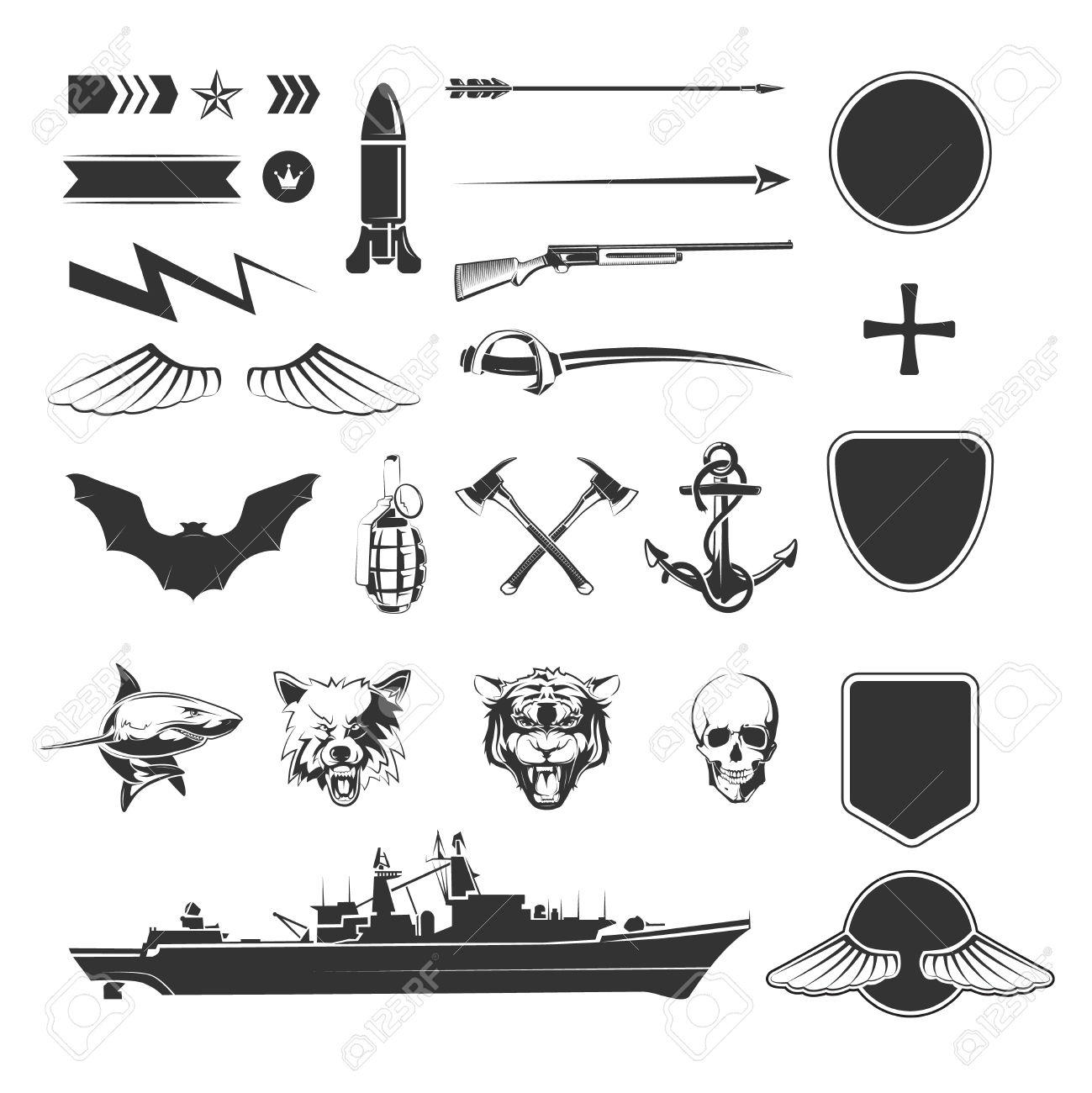 Military Symbols Mega Set Army Military Shield Weapon Ship