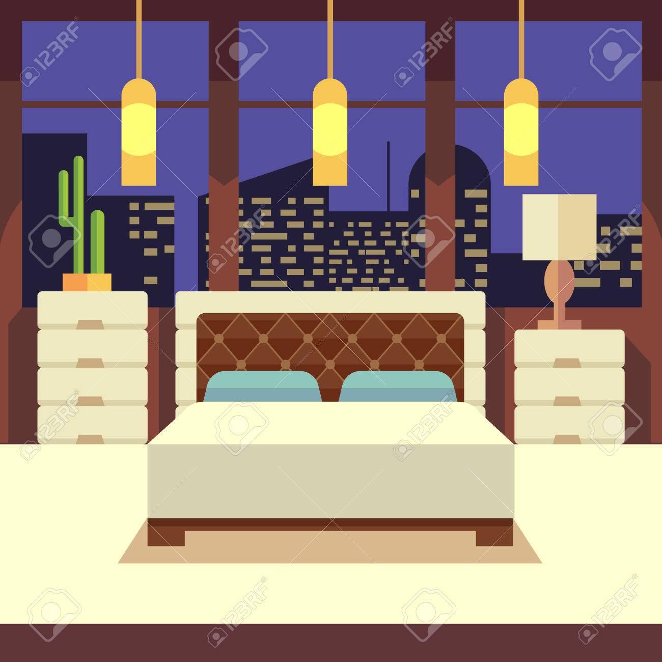 Interior Del Dormitorio En Estilo Plano Del Diseño Con Los Muebles ...