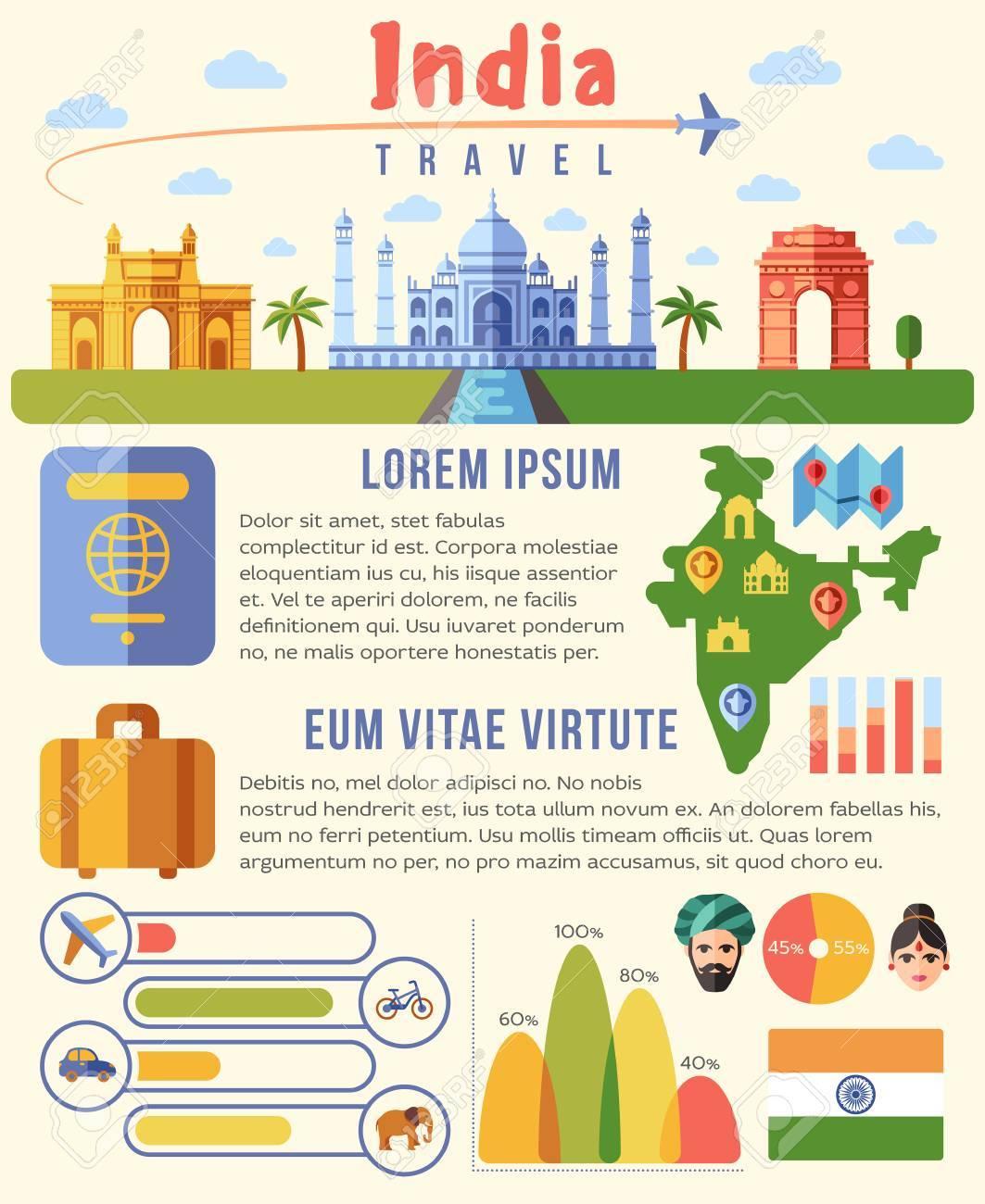 India Vector Plantilla De Infografías Viaje Con Puntos De Referencia ...