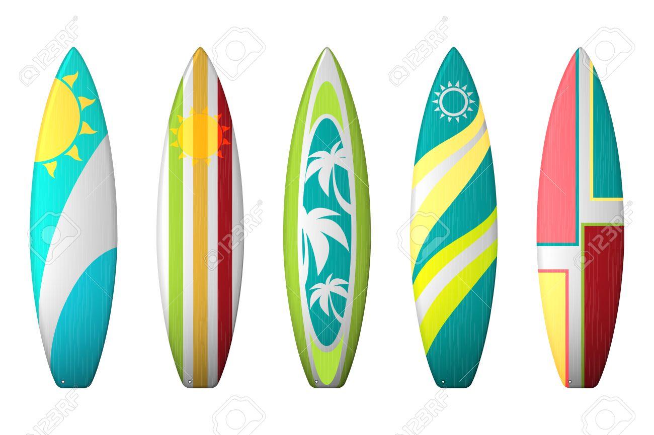 surf boards designs vector surfboard coloring set realistic