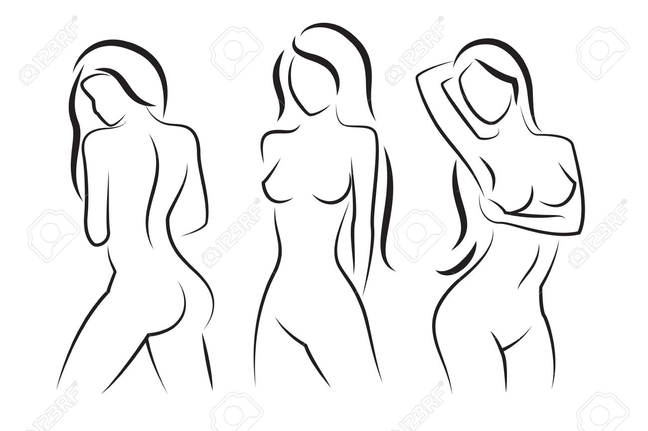 Vector woman body vector silhouette beautiful sexy woman body figure drawings