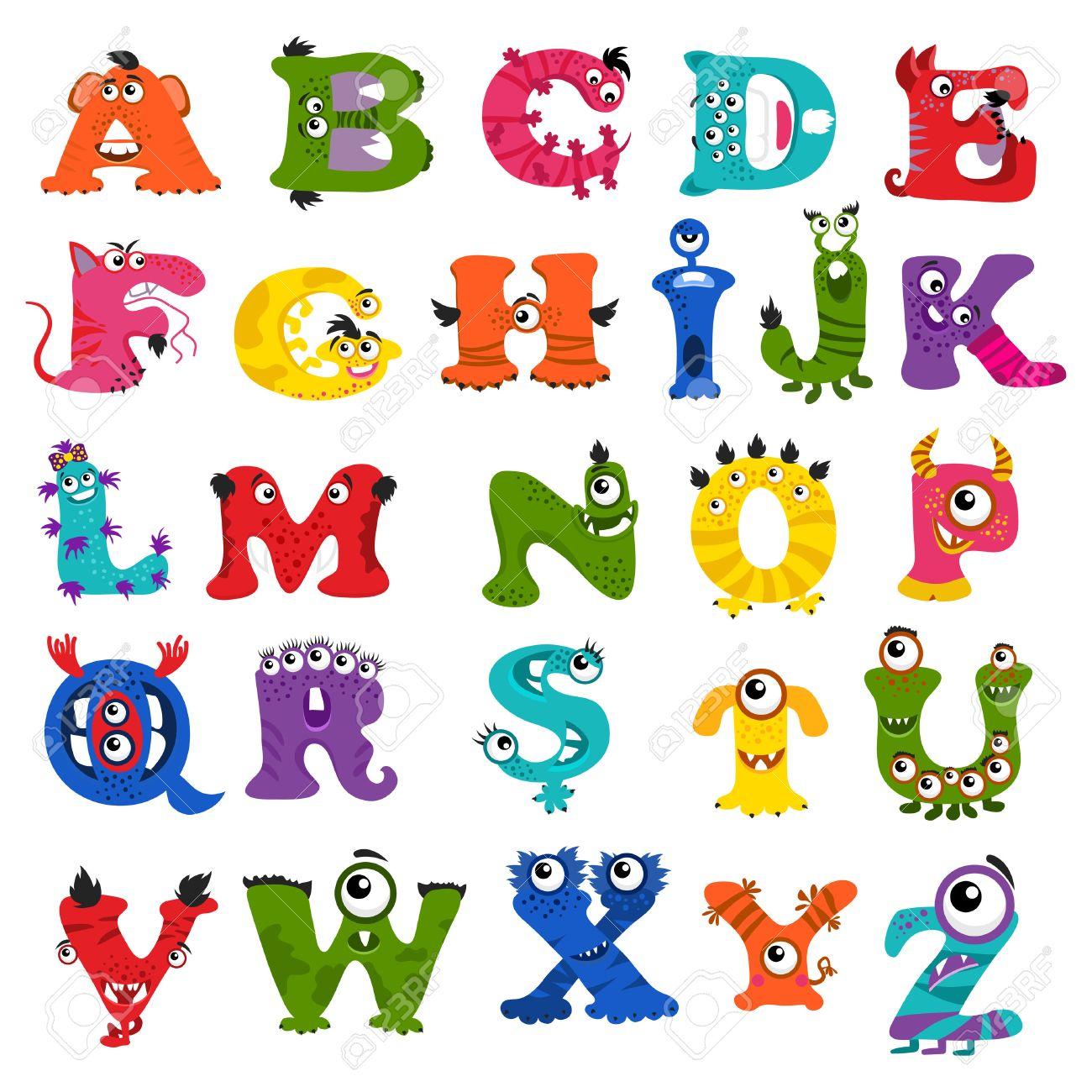 子供のためのおかしいベクトル モンスター アルファベット手紙の文字と