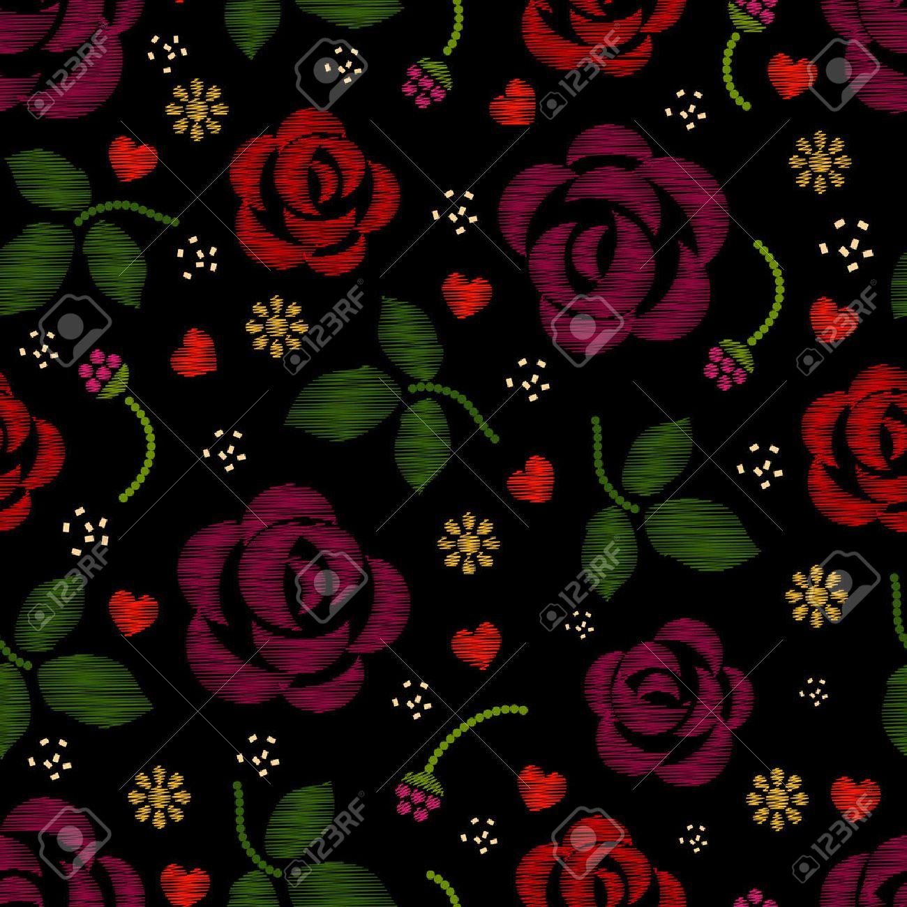 Foto de archivo - Patrón de bordado con flores rosas. fondo bordado de  flores y patrón de bordado con la rosa. ilustración vectorial 97f8b51a7f3e0