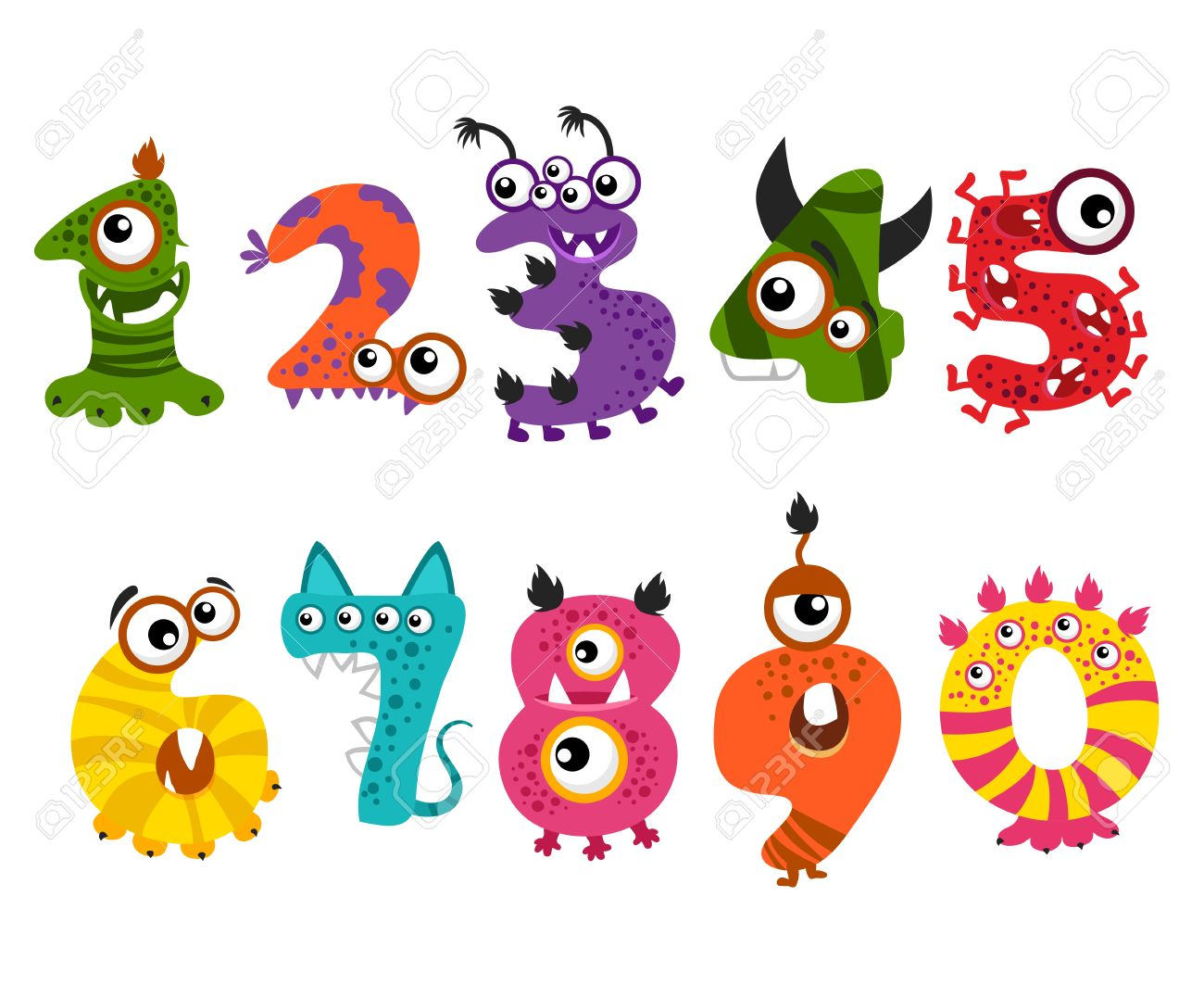 funny cute monster numbers for halloween party event color numbers for mathematics and illustration number - Color Numbers