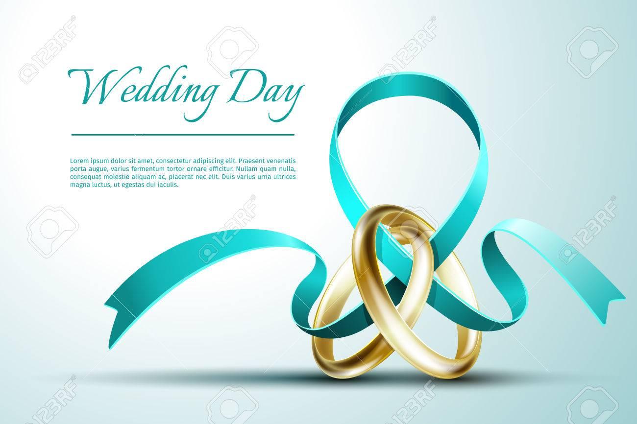 Wedding Rings With Ribbon Invitation Card Template. Invitation ...