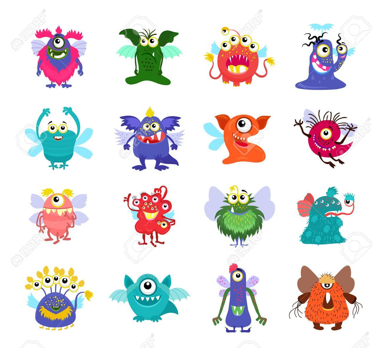 flying cartoon monsters vector set for kids party flying monsters rh 123rf com cartoon pictures of monsters inc pictures of animated monsters