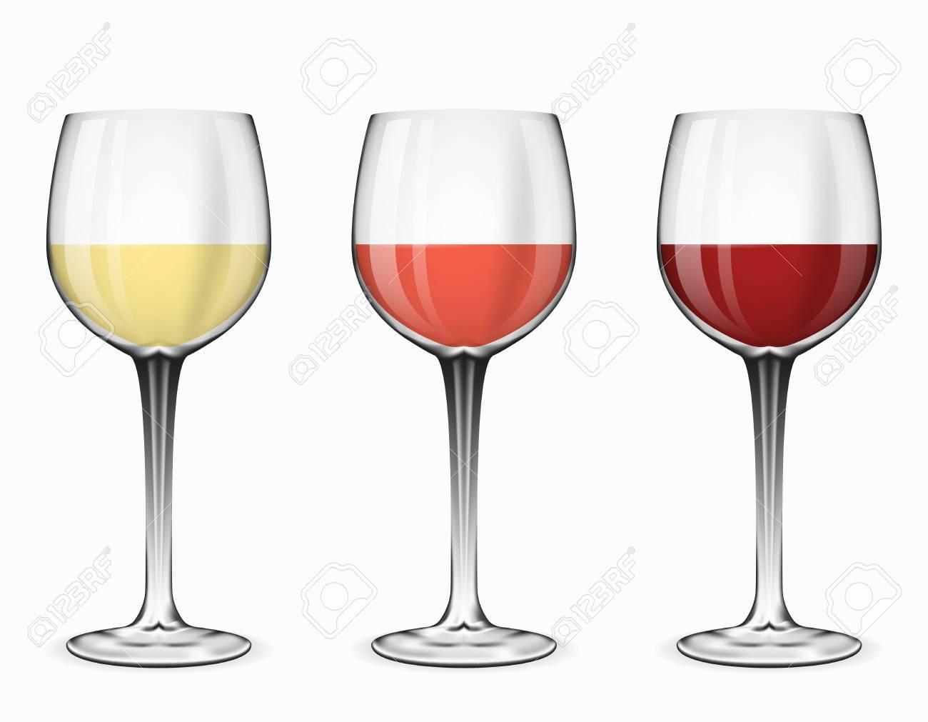 Vecteur de verres à vin. Verre de vin rouge, vin rose et vin blanc sur illustration blanche