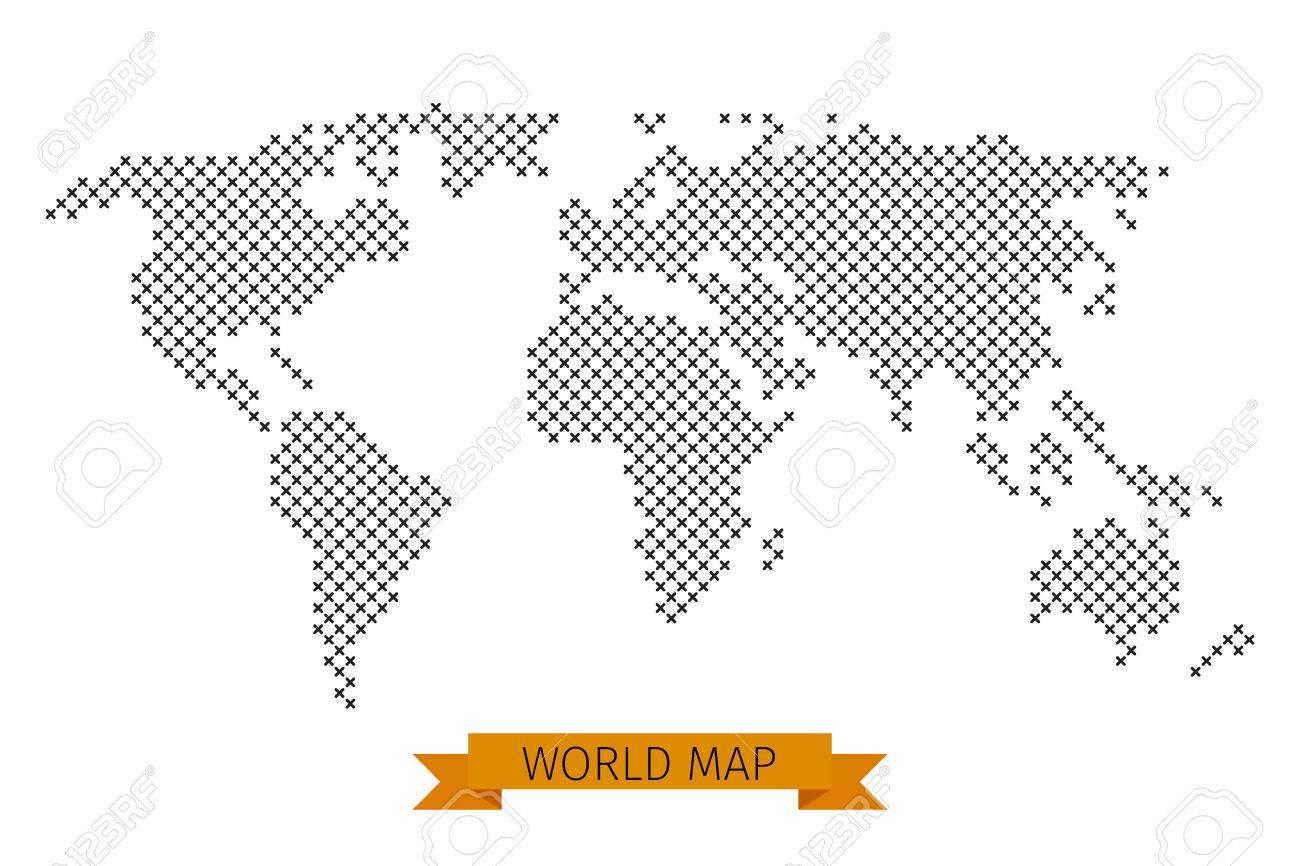 Vector world map cross dot global map for cartography template vector vector world map cross dot global map for cartography template map with black cross illustration gumiabroncs Gallery
