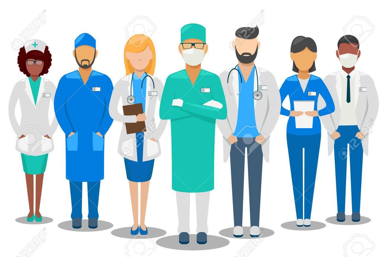 Medical good team. Hospital staff doctors and nurse. Vector illustration - 67379785