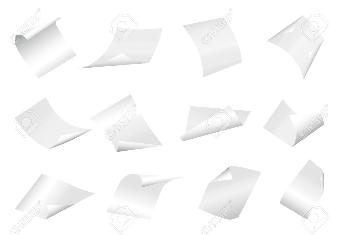 Flying blank paper sheets with curved corner. Vector page on white background illustration - 67379793
