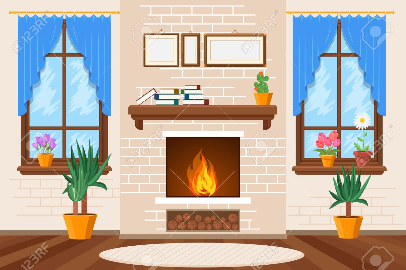 Classic Living Room Interior With Fireplace And Bookshelves And