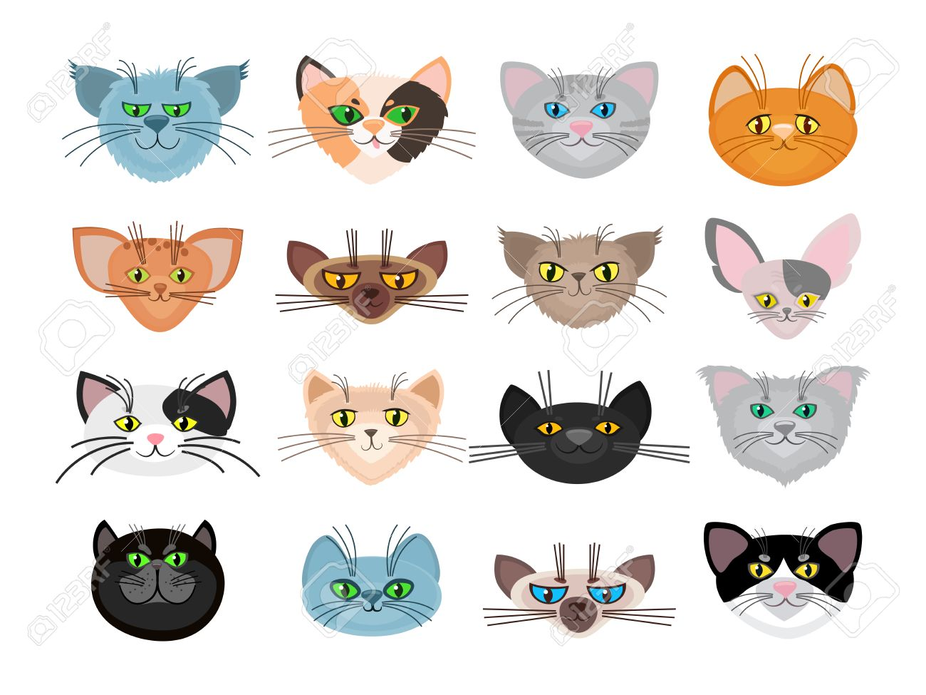 Cute Cat Faces Vector Illustration Muzzle Animals And Set Of Pets With Whiskers Stock