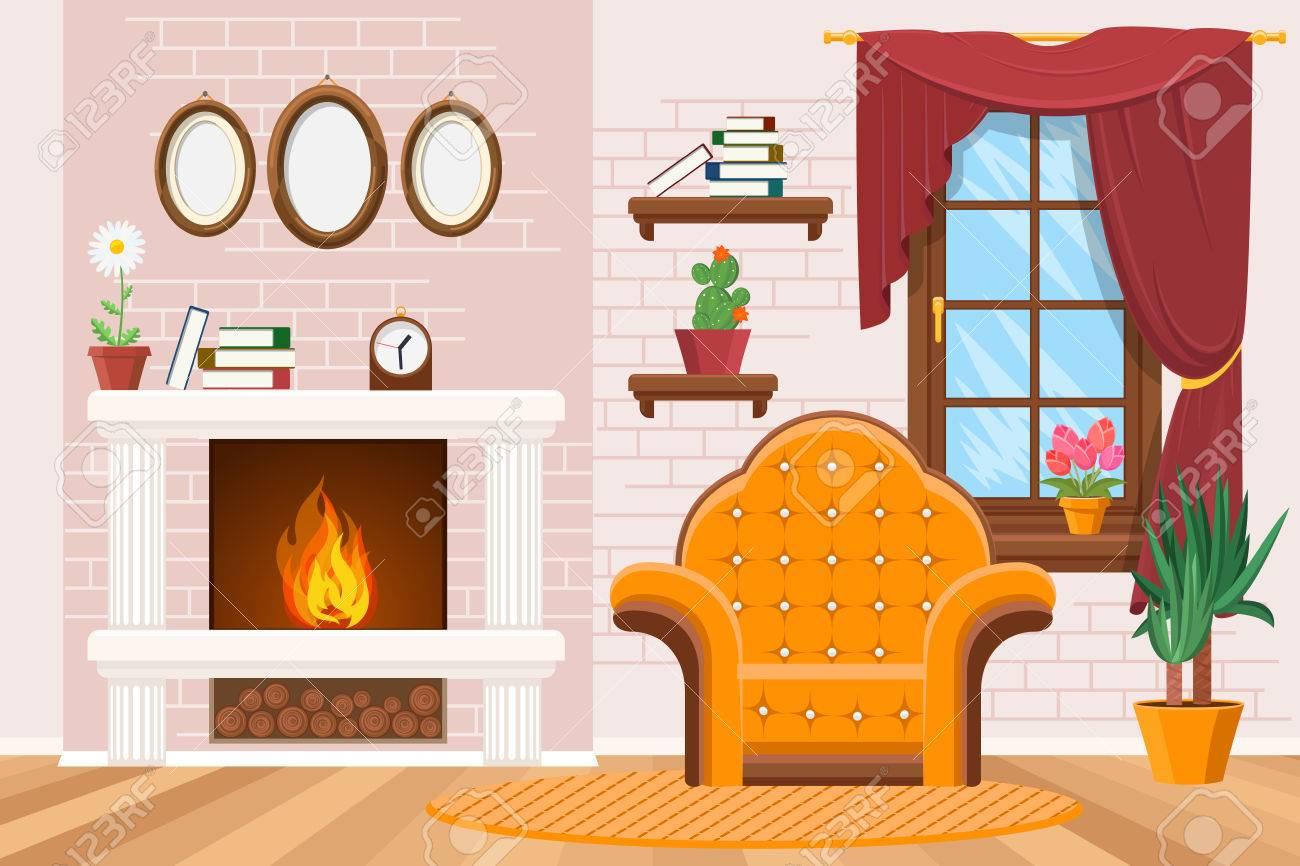 Startseite Wohnzimmer Innenraum Mit Bilderrahmen, Warmen Kamin Und ...