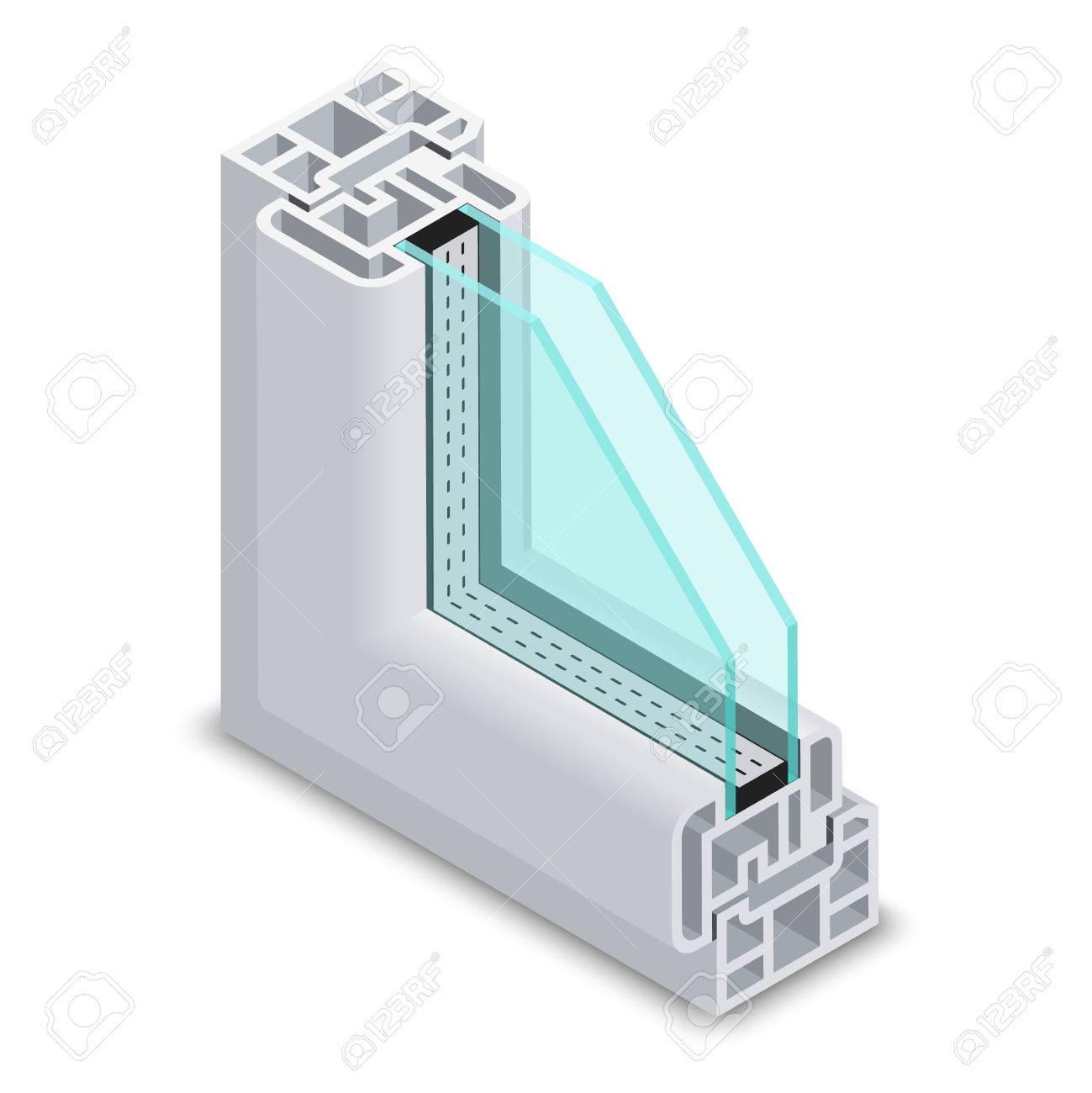 Vidrio Claro Sección Transversal Ventana De Casa. Marco De La ...