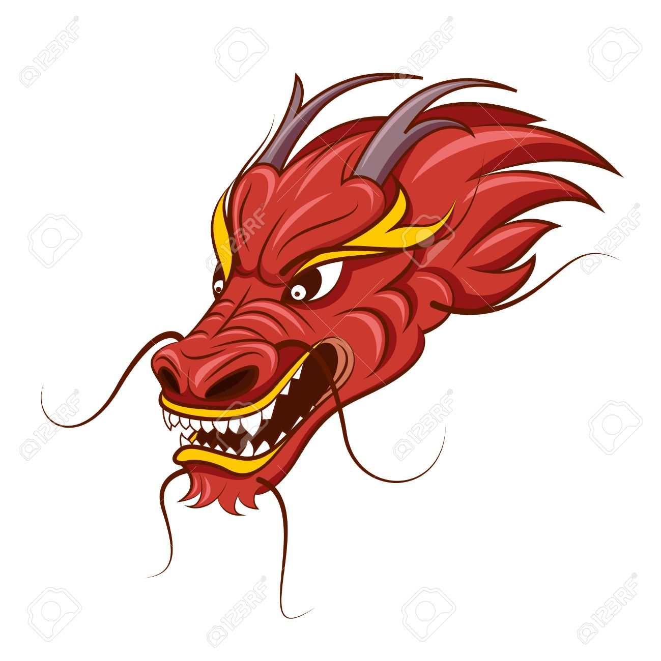 chinese dragon vector illustration tattoo of red dragon head