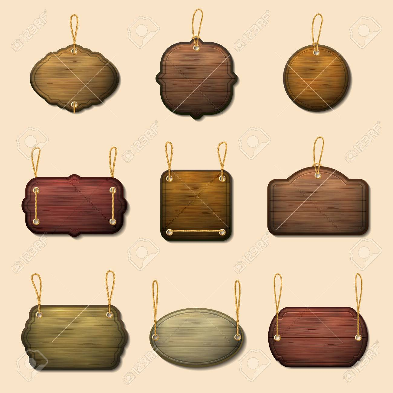 Old Wooden Label Templates Or Vector Wooden Banners Wood Signboard - Pres a ply label templates