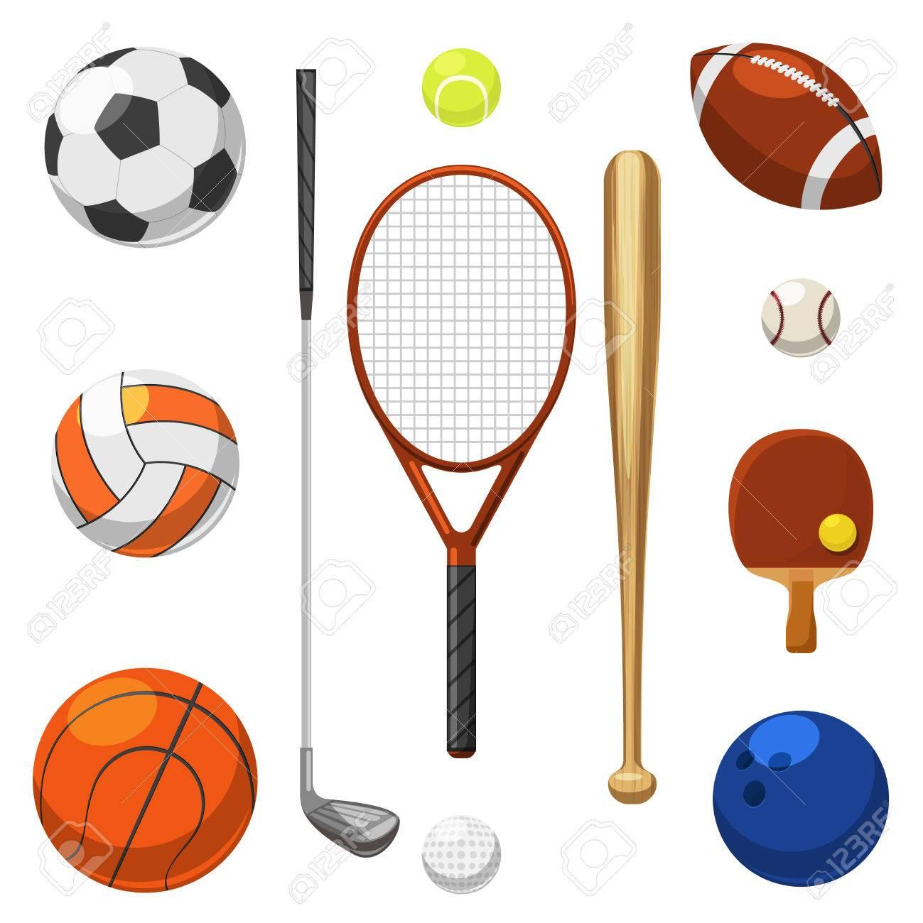 Foto de archivo - Vector material deportivo de iconos. Deportes ejerce  artículos. Raqueta y golpear para deporte ilustración juego 043ea8be00802