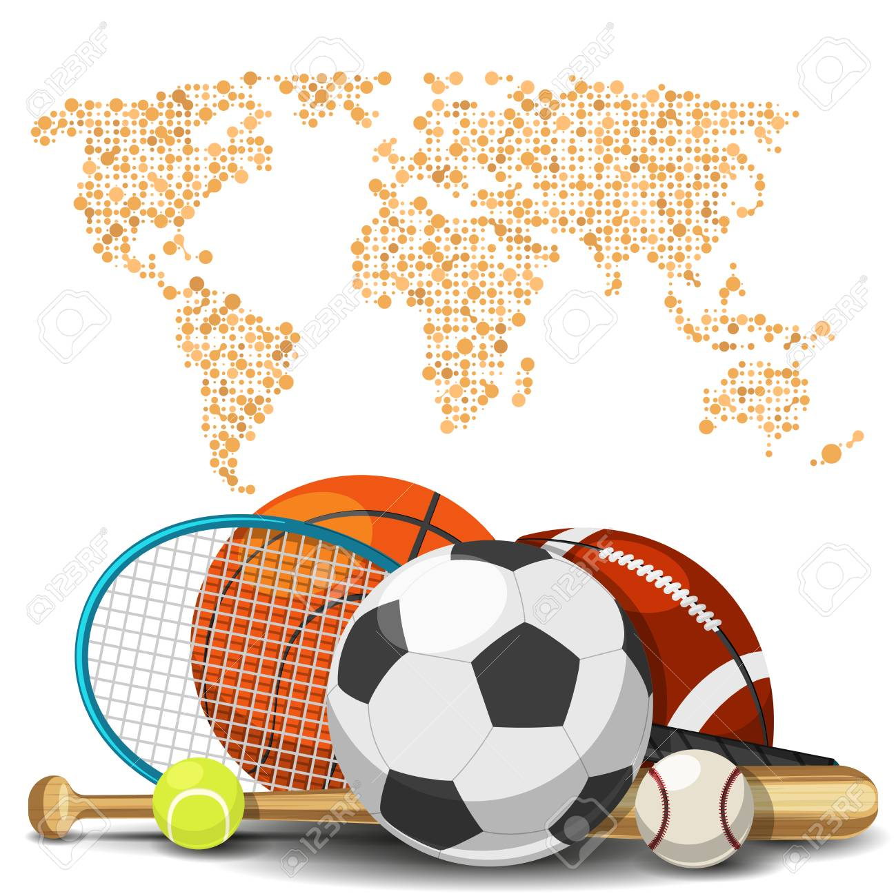 World sport deportes concept sports equipment with map background vector world sport deportes concept sports equipment with map background sport basketball and tennis football and baseball illustration gumiabroncs Images