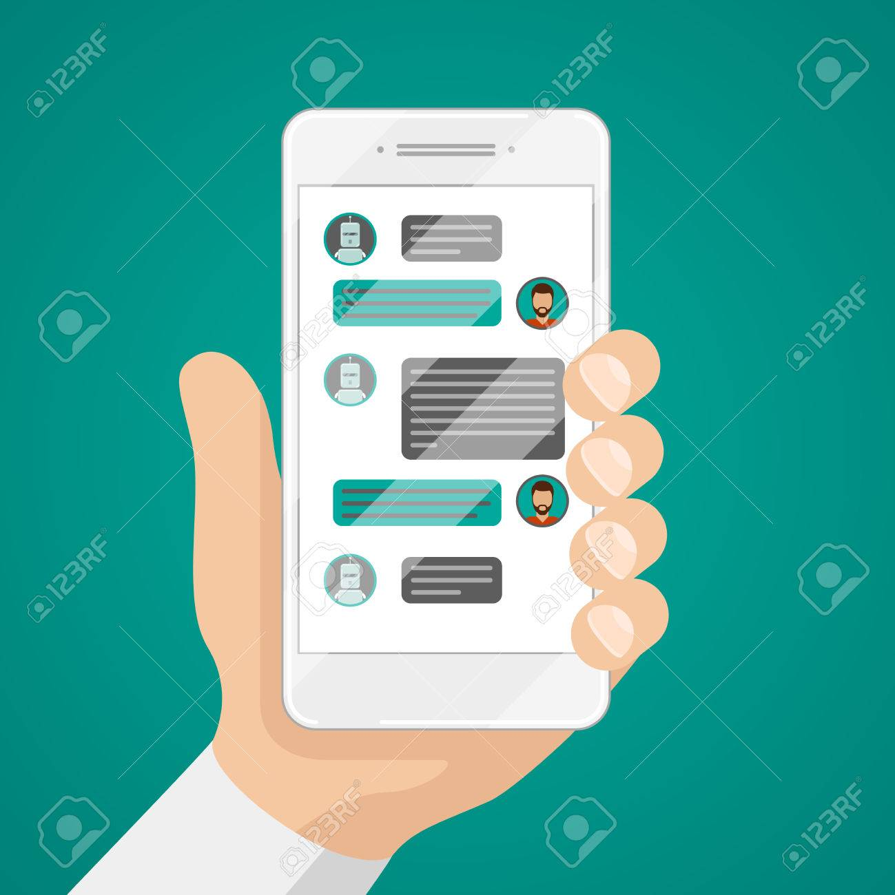 Man chatting with chat bot on smartphone vector illustration. Communication with chat bot use smartphone, message for chat bot - 67389652