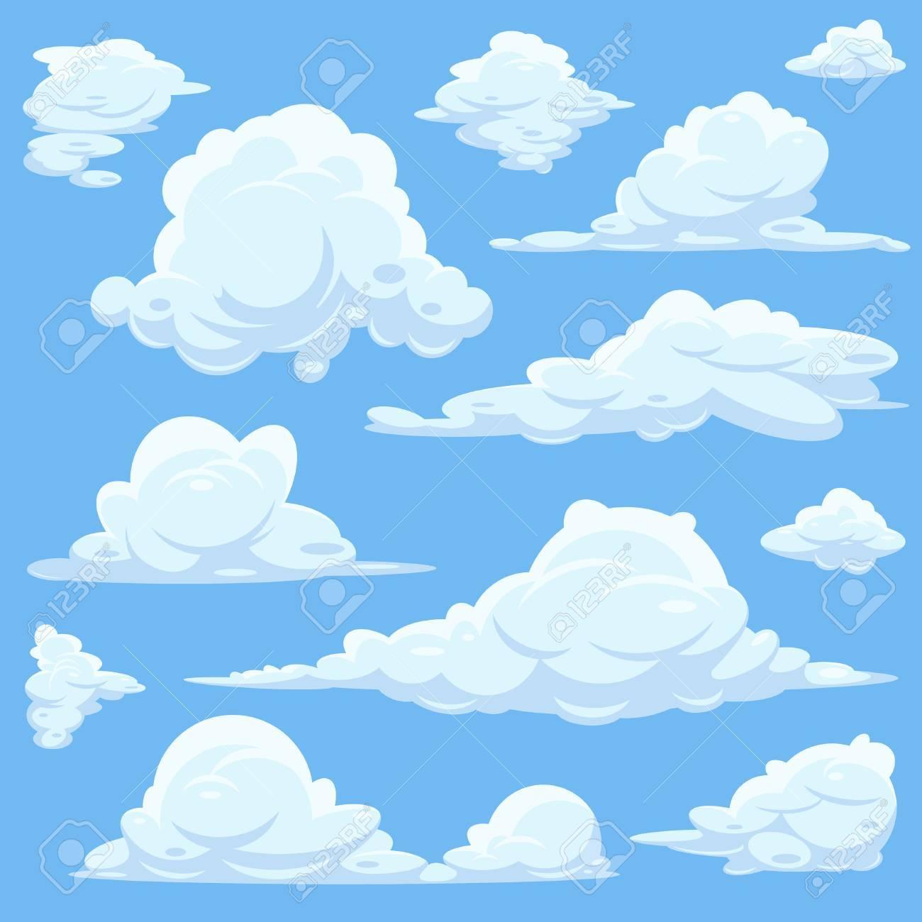 ベクトル漫画雲青空一連の白い雲ふわふわ Cloid イラスト天国の