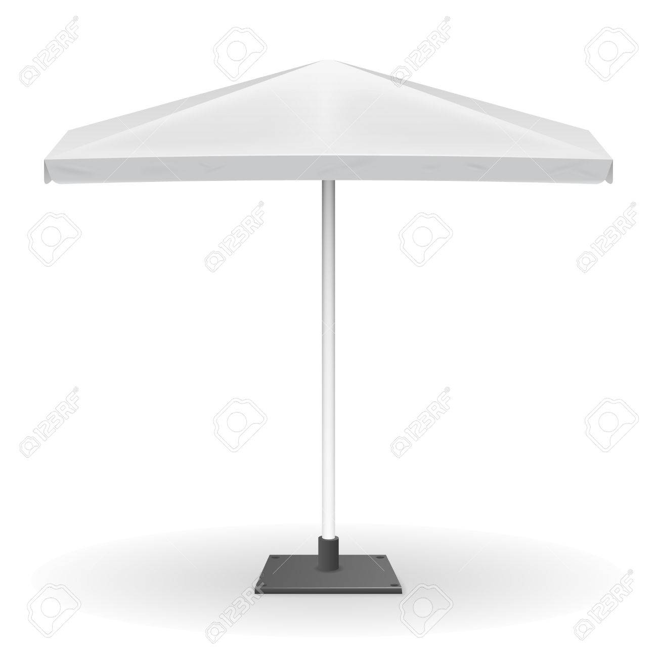Parasol For Promo Isolated On White Background. Mock Up Of Square