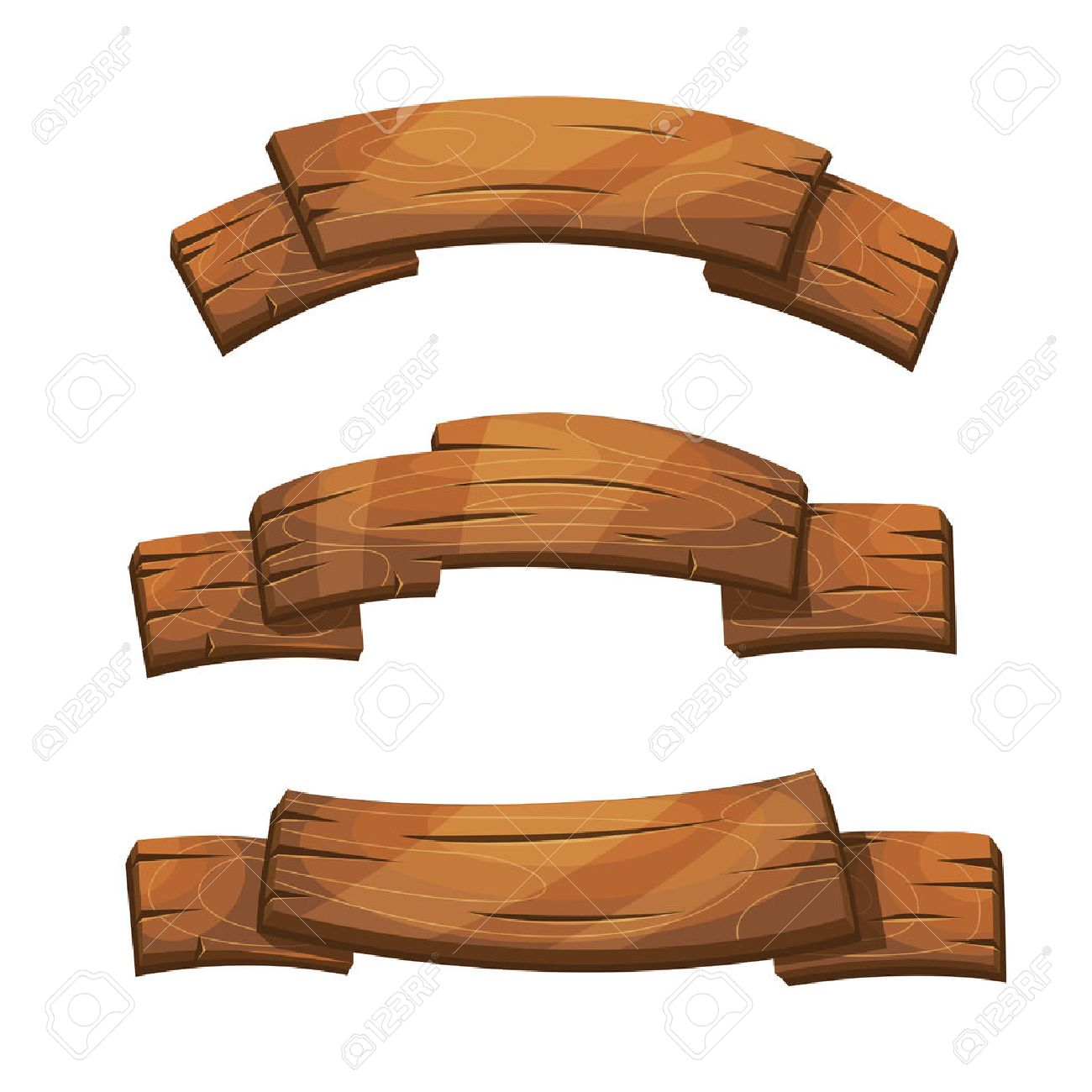 Comic wooden banners and signs. Wood plank board, cartoon wooden brown board illustration - 67400385