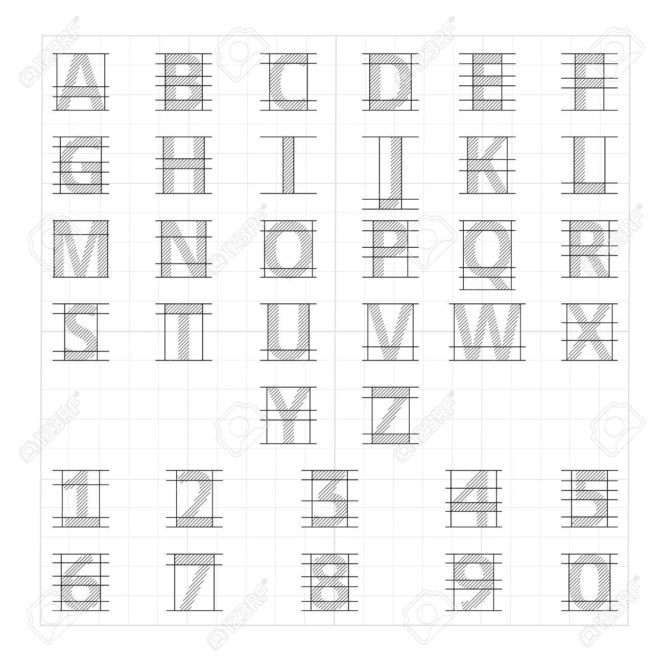 Drafting Paper Alphabet. Vector Drawing Sketch Letters. Alphabet ...