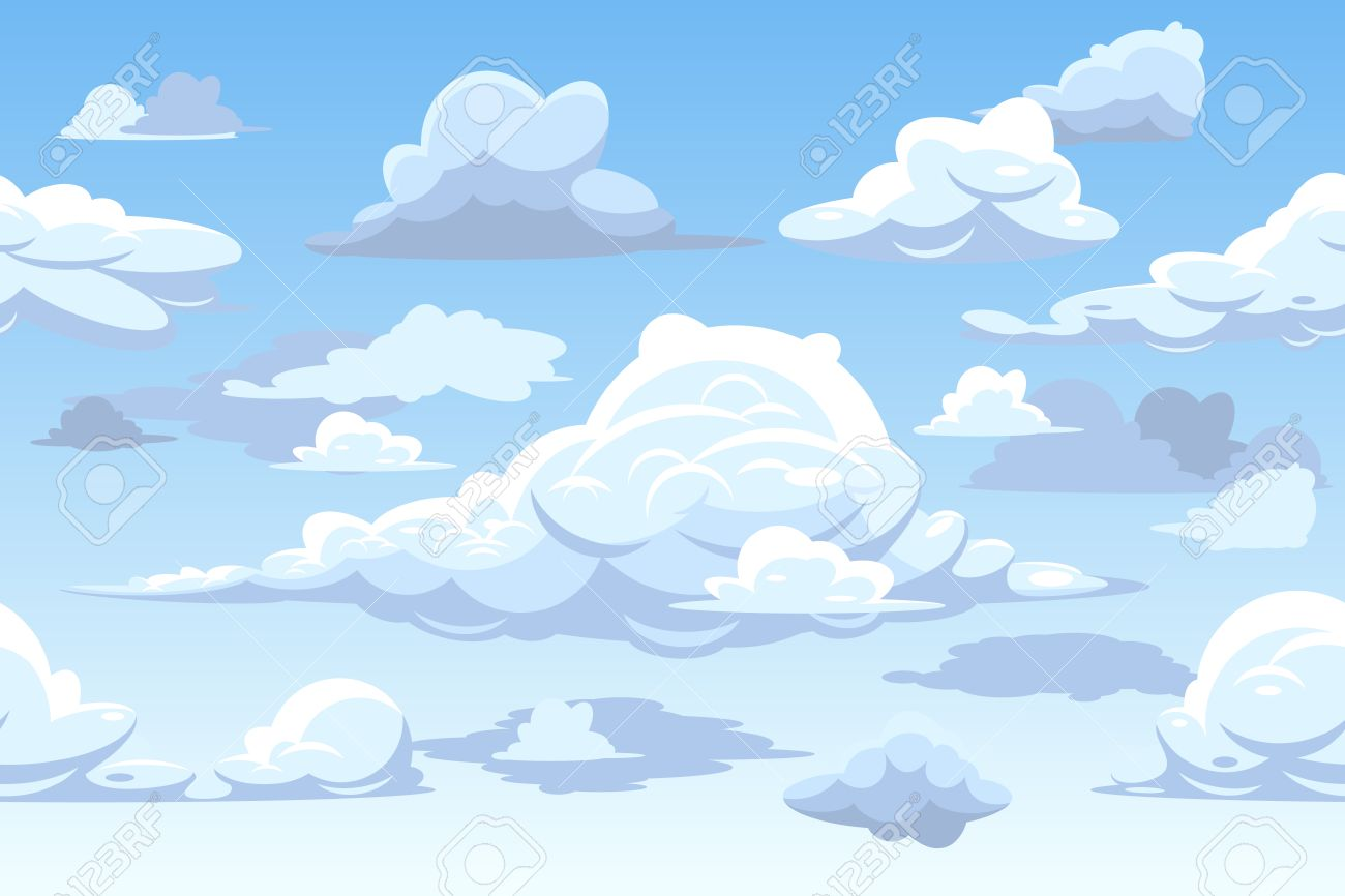 Vector De Dibujos Animados Azul Cielo Nublado. Modelo Inconsútil Horizontal  Con Las Nubes, El Fondo Con Nubes Ilustración Ilustraciones Vectoriales,  Clip Art Vectorizado Libre De Derechos. Image 67402878.