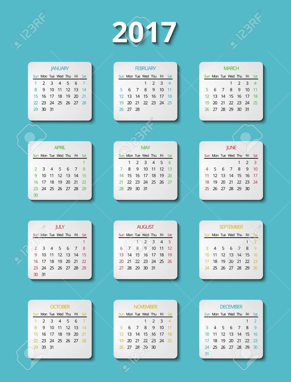 Vector 2017 Plantilla De Calendario. Planificador Mes Calendario ...